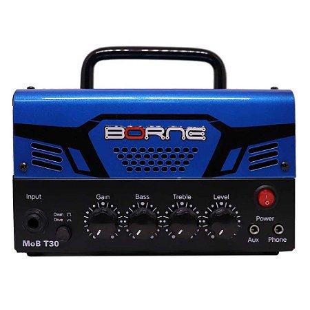 Cabeçote Borne Mob T30 Azul 30w Com Distorção Guitarra
