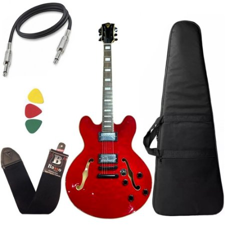 Kit Guitarra PHX Semi Acústica AC1 Vermelho Capa