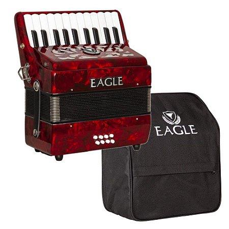 Acordeon Eagle Ega8b Vermelho 8 Baixos 22 Teclas com Capa Bag