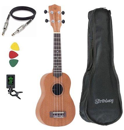 Ukulele Strinberg UK06S MGS Fosco Soprano Acústico Kit Capa