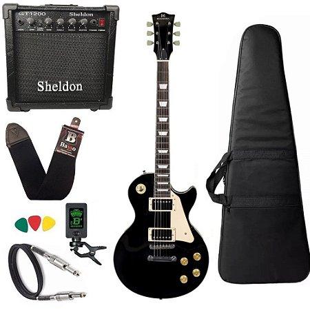 Kit Guitarra Les Paul Michael GM750N Preta bk amplificador