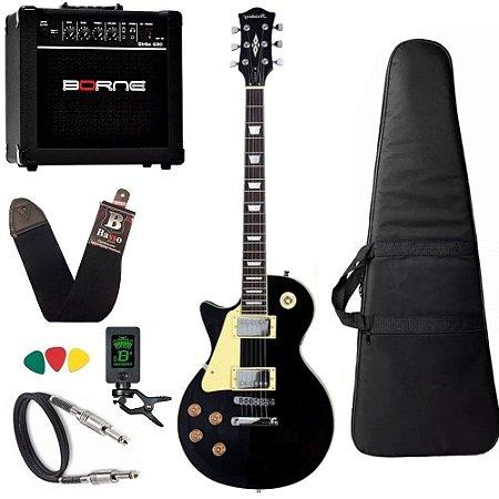 Kit Guitarra Canhoto Strinberg Lps230 Preto Bk Cubo Borne