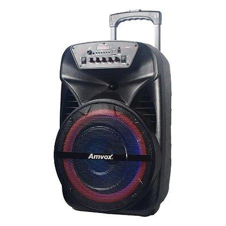 Caixa de Som Amplificada Amvox Aca 380w led bateria bluetoot