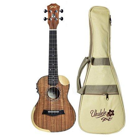 Ukulele Elétrico Seizi Bora Bora Crush Koa Concert Bag