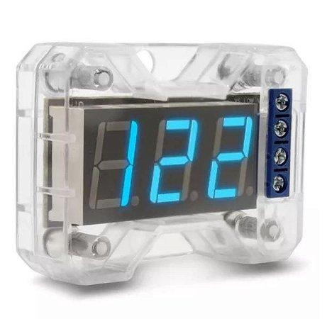 Voltímetro Expert Eletronics VEX 1.0 LED Azul 12,6V Digital 4 Saídas Acrílico Resistente