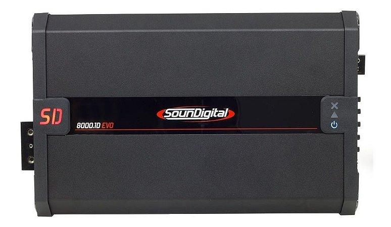 Módulo Amplificador SounDigital SD8000.1D 2 Ohms EVO - 1 Canal - 8000 RMS