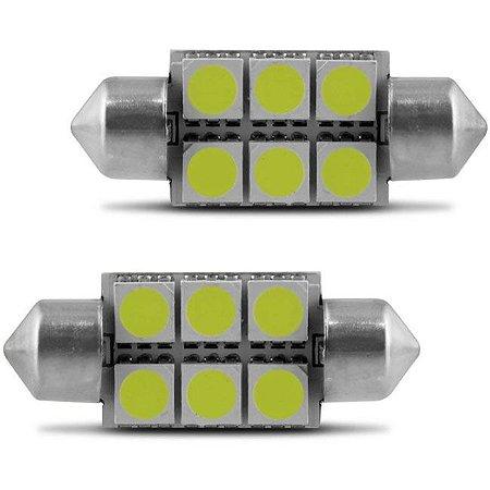 Lâmpada Torpedo 6 LEDS 36MM 12V Branca para Luz de Teto e Luz de Placa