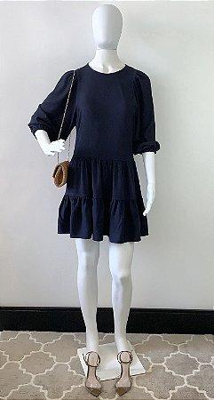Vestido Babados Marinho