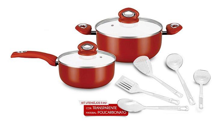 Combo 3 Ceramic Red Eirilar com 1 Caçarola Ceramic 20 CM. Red Eirilar , 1 Caçarola Ceramic 22 Cm. Red Eirilar e 1 Kit de Utensílios Policarbonato 5 Peças Eirilar