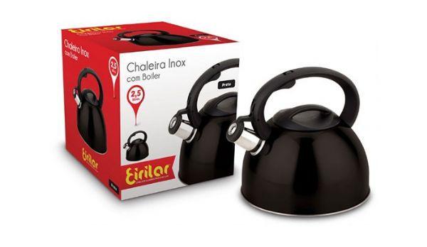 Chaleira Inox com Apito Eirilar 2,5 litros Preta