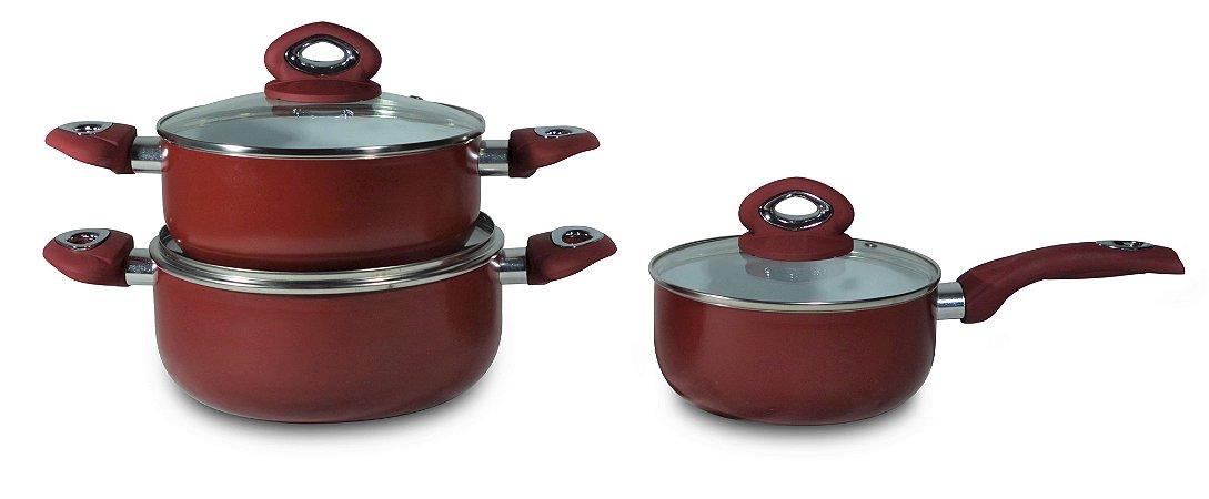 Kit de Panelas Ceramic Red