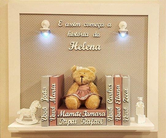 Porta Maternidade Ursinha com Livros e Nomes