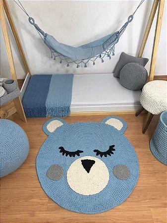 Tapete Infantil Crochê Urso Azul