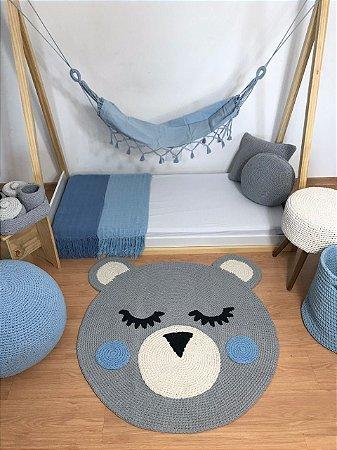Tapete Infantil Crochê Urso Cinza