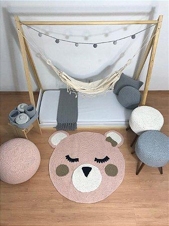 Tapete Infantil Crochê Ursa Rosa