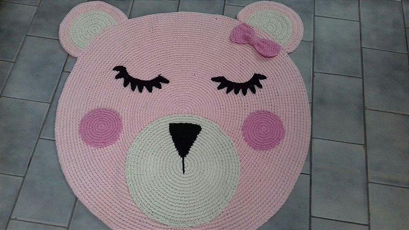 Tapete Infantil Crochê Ursinha Rosa