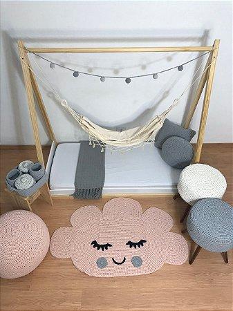 Tapete Infantil Crochê Nuvem Rosa com Cinza