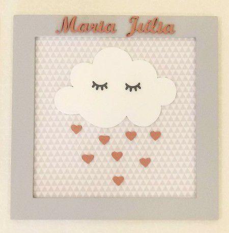 Porta Maternidade Maria Julia Nuvem Com Gotas