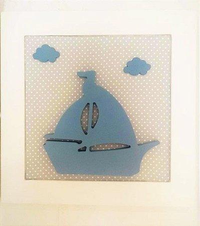 Quadro Barco Azul com Nuvem