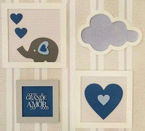 Quadro Conjunto Menino Elefante Corações