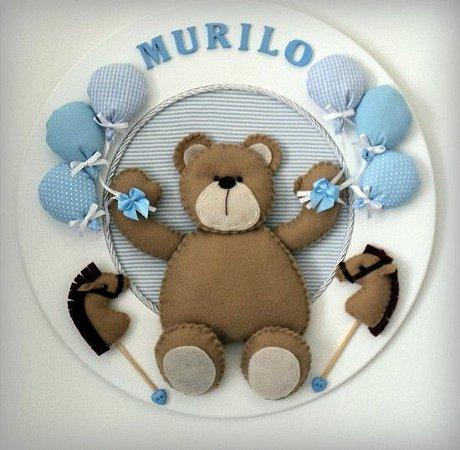 Porta Maternidade Ursinho Feliz com Bexigas