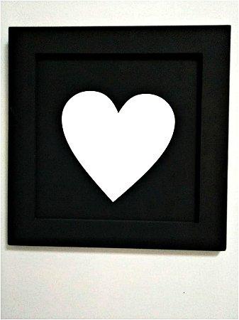 Quadro Coração Preto e Branco