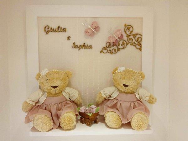 Porta Maternidade Ursinhas Gêmeas