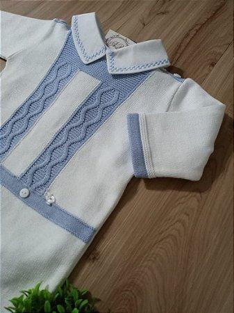 Saída Maternidade Macacão Sr Am Branco Azul
