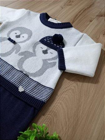 Saída Maternidade Macacão Pinguim Branco