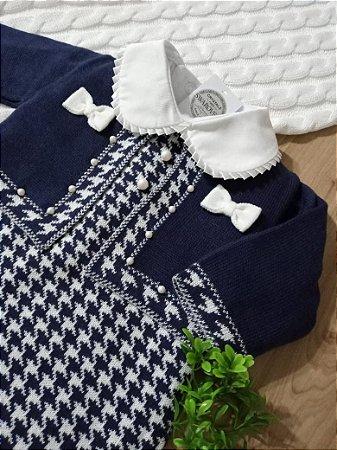 Saída Maternidade Bolero Pied Poule Azul Marinho