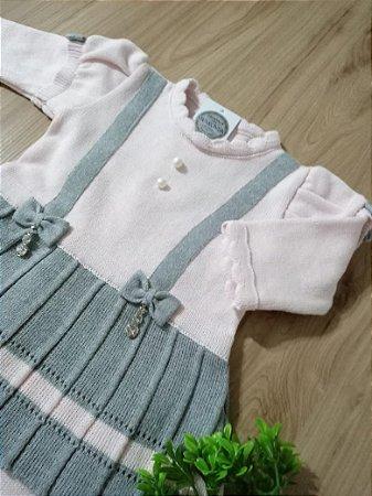 Saída Maternidade Vestido Suspensórios Cinza e Rosa