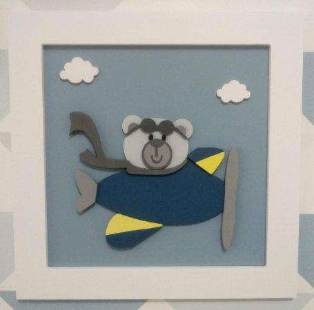 Quadro Urso Aviãozinho com Nuvem