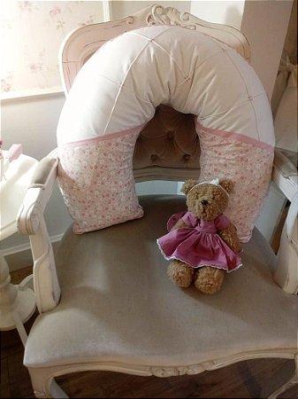 Almofada de Amamentação Menina Bebê Rosa e Branco