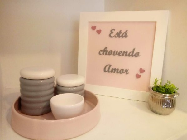 Kit Higiene Cinza Rosa e Branco
