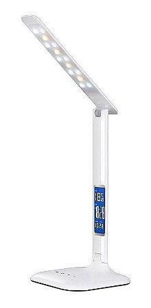Luminária De Mesa Touch Led Soft Eye Protection Com Relógio