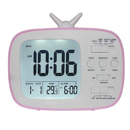 Relógio De Mesa Digital Tipo Tv Com Sensor Noturno