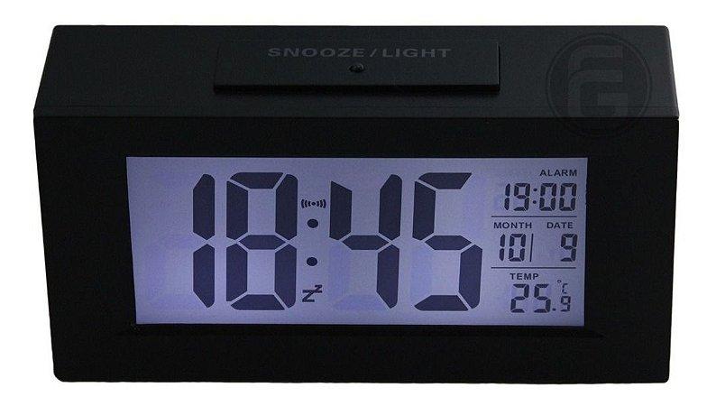 Relógio De Mesa Digital C/ Despertador Sensor Noturno