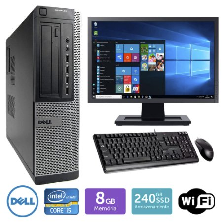 Desktop Usado Dell Optiplex 7010Int I5 8Gb Ssd240 Mon19W