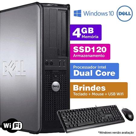 Desktop Usado Dell Optiplex INT Dcore 4GB DDR3 SSD120 Brinde