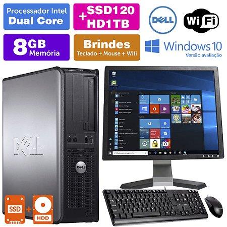 Desktop Usado Dell Optiplex INT Dcore 8GB DDR3 SSD120+1TB Mon17Q