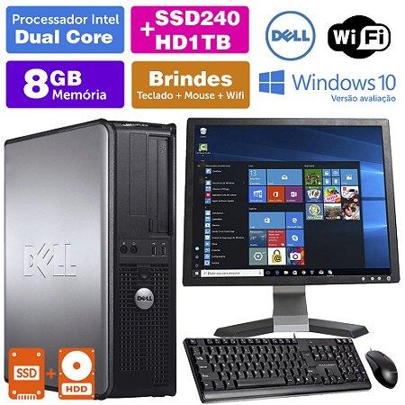 Desktop Usado Dell Optiplex INT Dcore 8GB DDR3 SSD240+1TB Mon17Q
