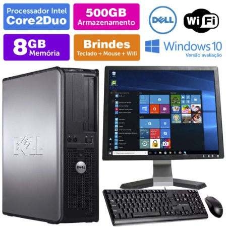 Desktop Usado Dell Optiplex INT C2Duo 8GB DDR3 500GB Mon17Q