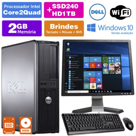 Desktop Usado Dell Optiplex INT C2Quad 2GB DDR3 SSD240+1TB Mon17Q