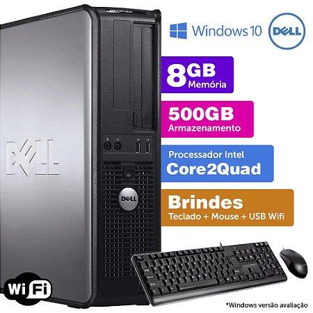 Desktop Usado Dell Optiplex INT C2Quad 8GB DDR3 500GB Brinde