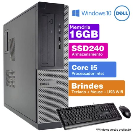 Desktop Usado Dell Optiplex INT i5 2G 16GB SSD240 Brinde