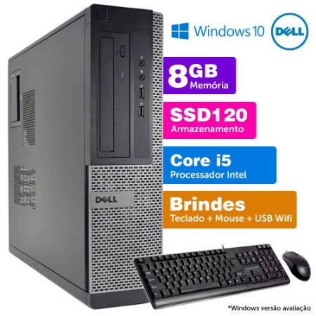 Desktop Usado Dell Optiplex INT i5 2G 8GB SSD120 Brinde