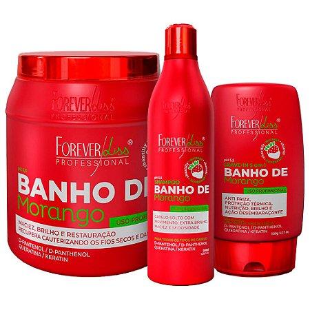 Kit Forever Liss Banho De Verniz Morango Completo Kg