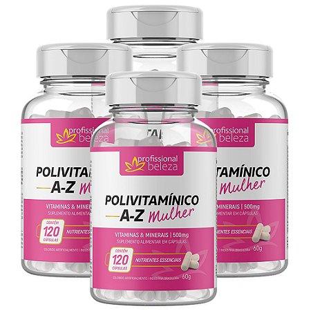 04 Polivitamínico A - Z Mulher Profissional Beleza 120 Cápsulas