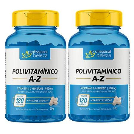02 Polivitamínico 500mg A - Z Profissional Beleza 120 Cápsulas