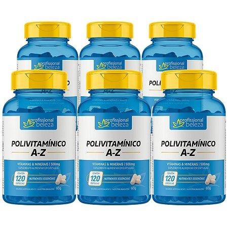 06 Polivitamínico 500mg A - Z Profissional Beleza 120 Cápsulas